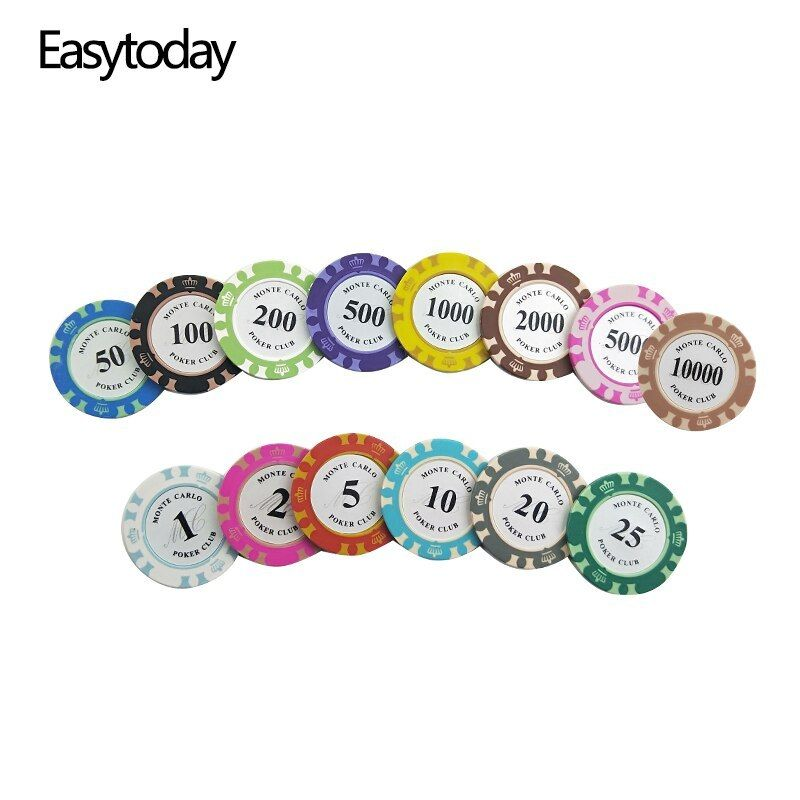 Easytoday 25pcs Set Clay Poker Chips Set 14 Colors Face Value