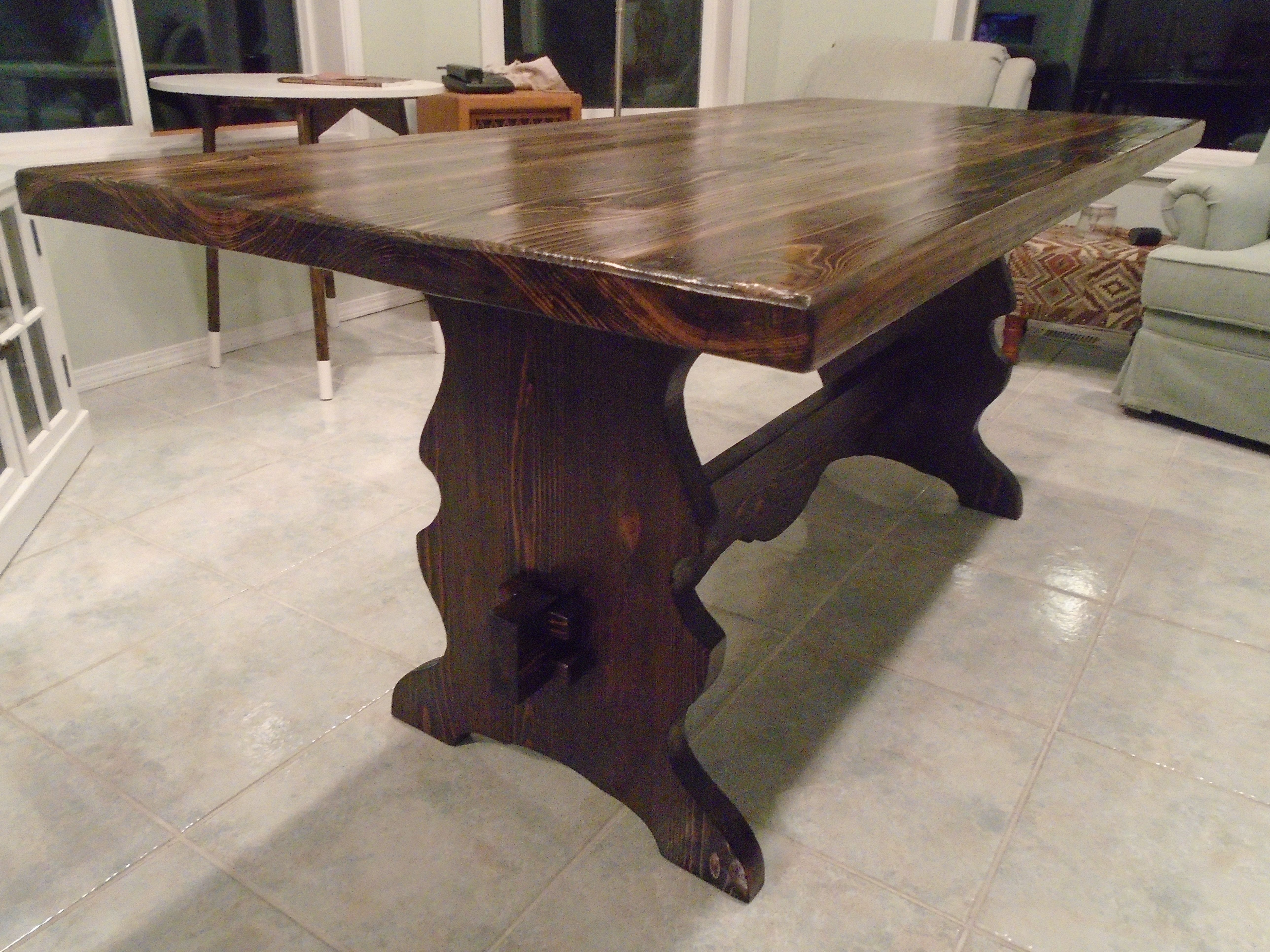 Solid Wood Trestle Table. The Table Is Solid Douglas Fir Stained A Dark  Walnut Color