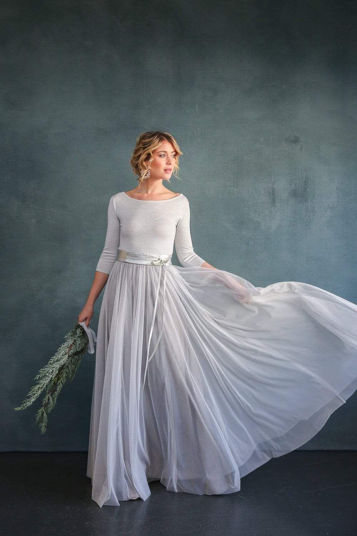 Silberner Braut Pullover aus Strickmix für die Hochzeit- Zoe in