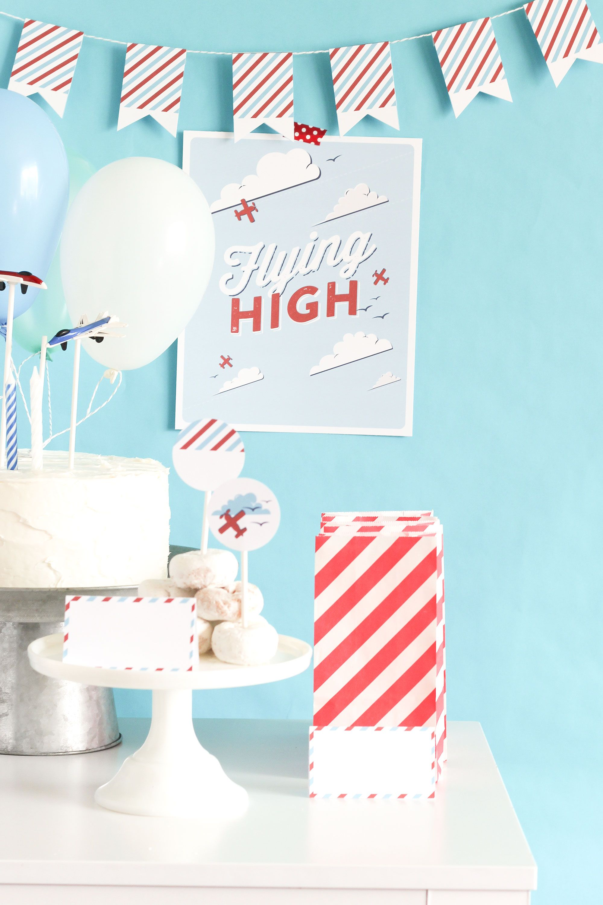 flying high airplane party  free printable paper airplane