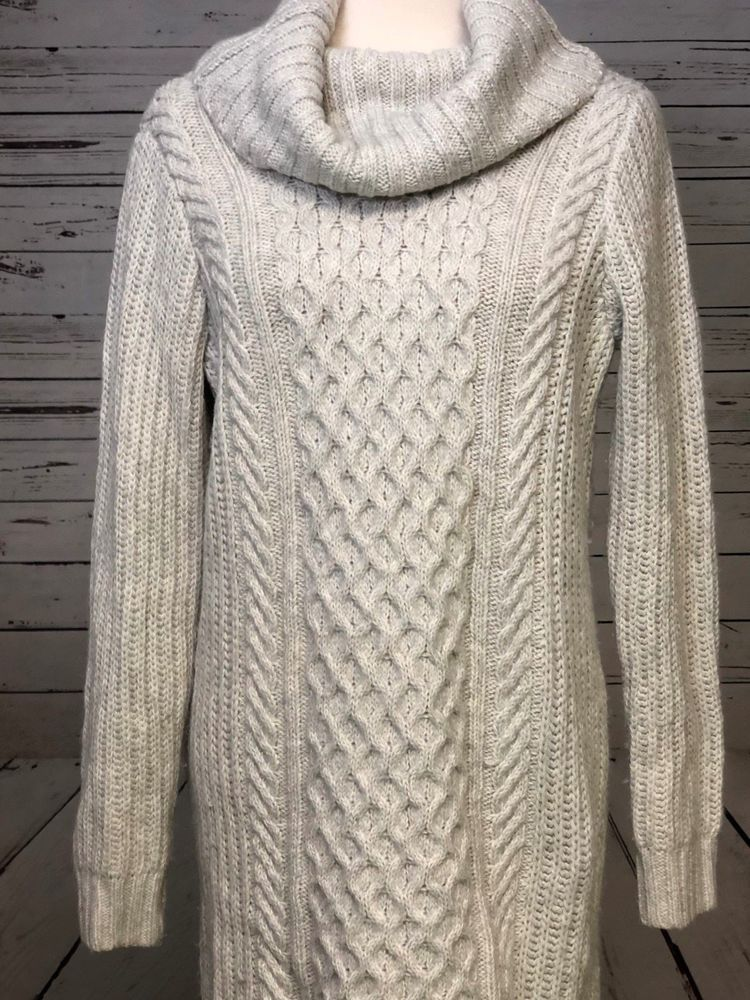 Ladies Chunky Knitted Pockets Long Sleeves Oversized Roll Cowl Neck Jumper Dress
