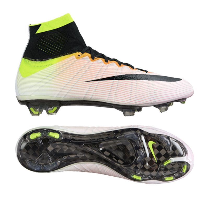 mercurial superfly iv fg soccer cleats (white volt total orange black) 641858 107 soccercorner