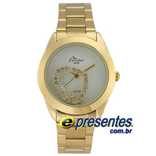 c922d9f38c8 KW85013B Relógio Feminino Condor Dourado Pingente Coração Vazado ...