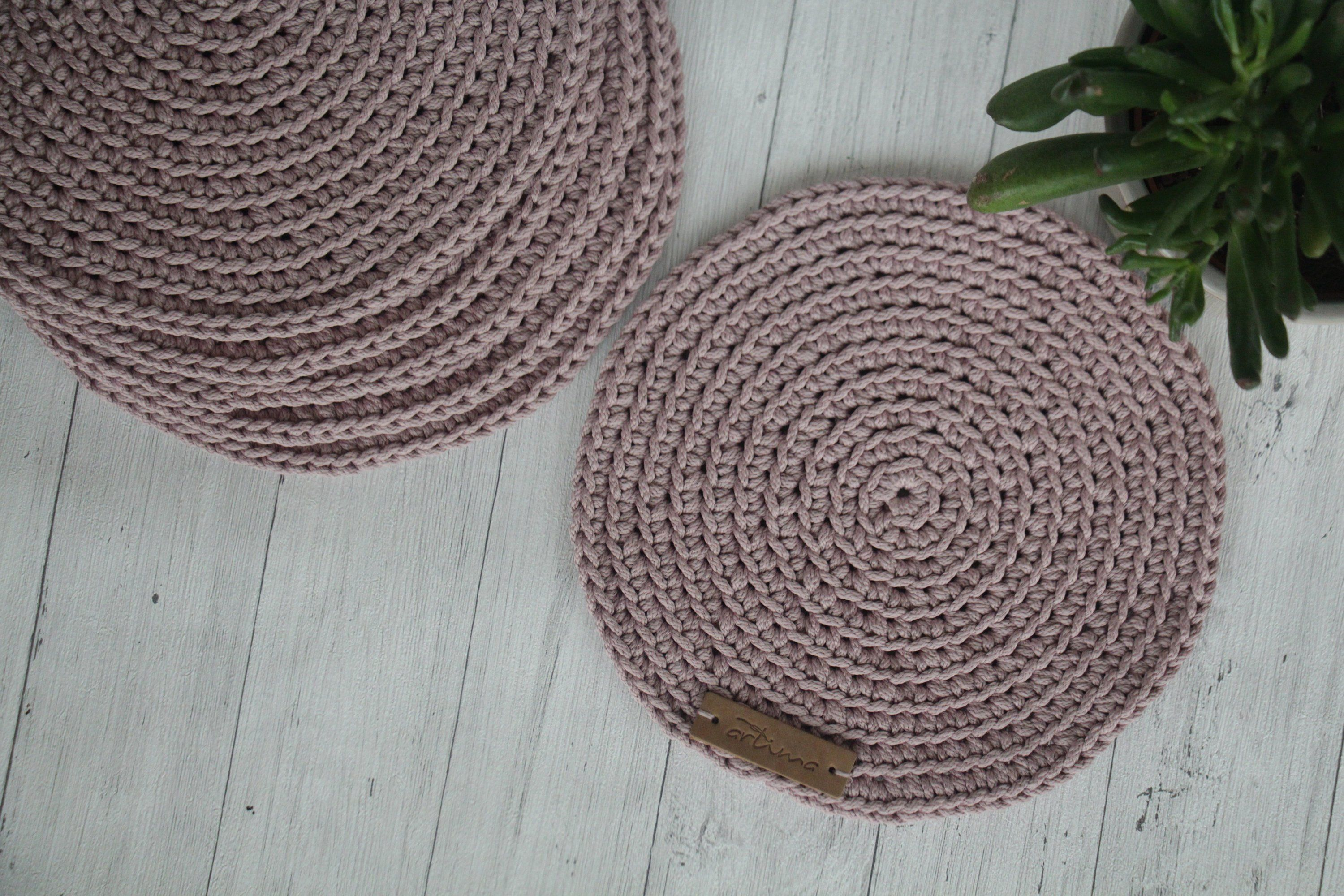 Set Of 6 Crochet Table Mats Lilac Placemats Round Crochet Etsy Crochet Table Mat Crochet Placemats Placemats