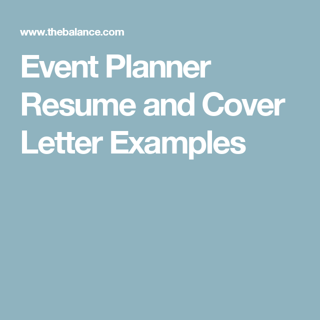 Review Event Planner Resume And Cover Letter Samples