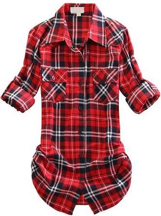 LOVE THIS TOP long sleeve roll up plaid flannel womens shirt ...