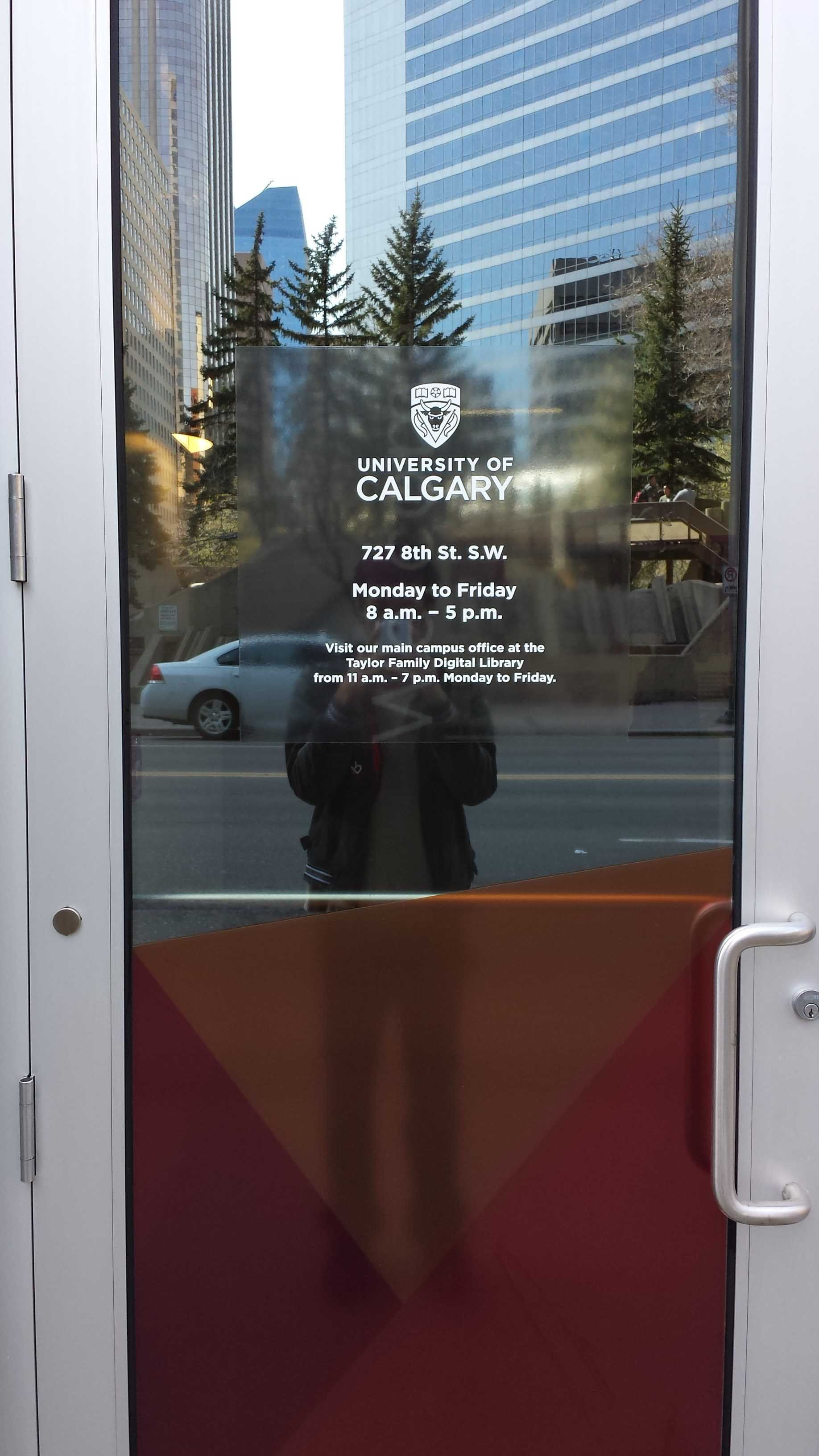 Adhesive Vinyl On A Glass Door At The University Of Calgary The
