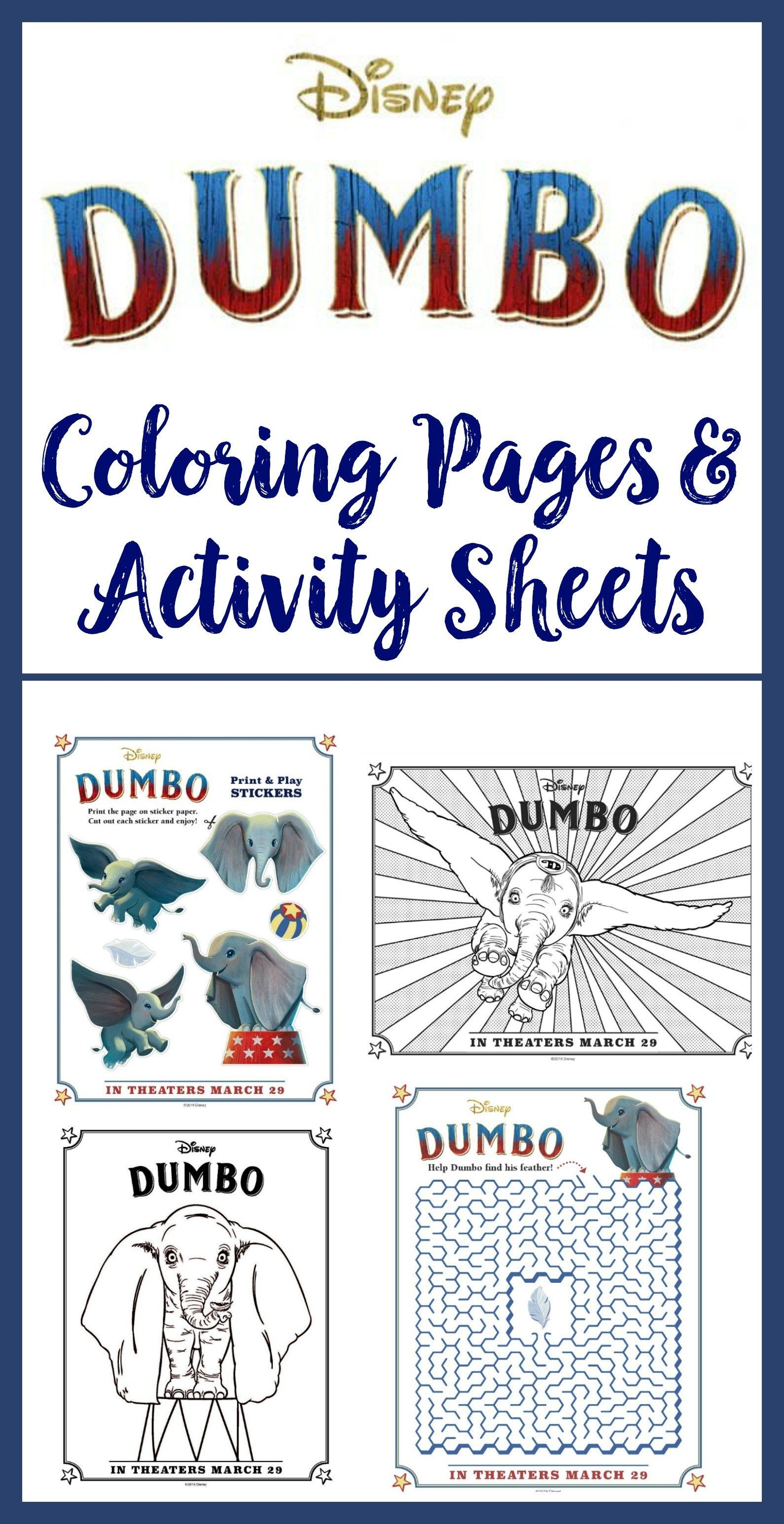 Dumbo Activity Sheets Character Posters