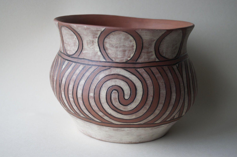 Large Ceramic Bowl Celtic Pottery Ancient Style Spiral Symbol Irish Ceramic And Pottery Handmade In Ireland Irish Pottery Pottery Ceramics