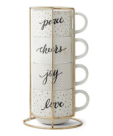 Loving this 'Cheers' Porcelain Mugs & Rack on #zulily! #zulilyfinds
