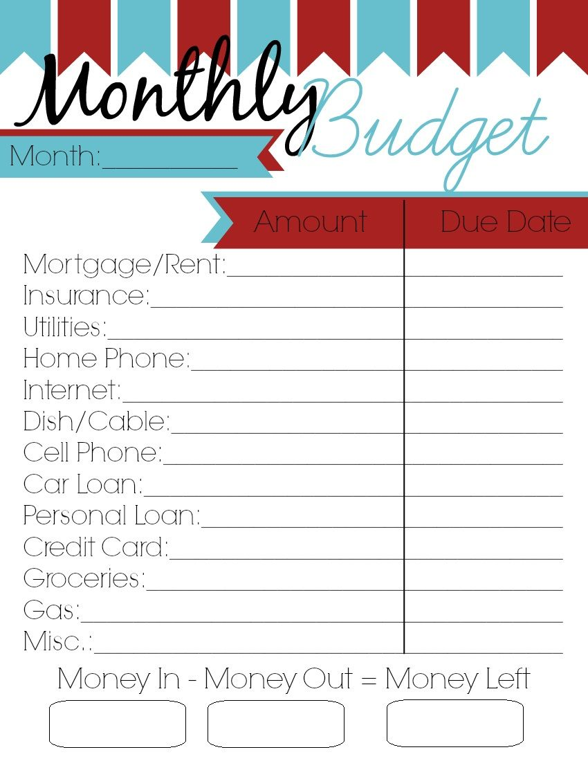 Monthly budget spreadsheet pdf printer