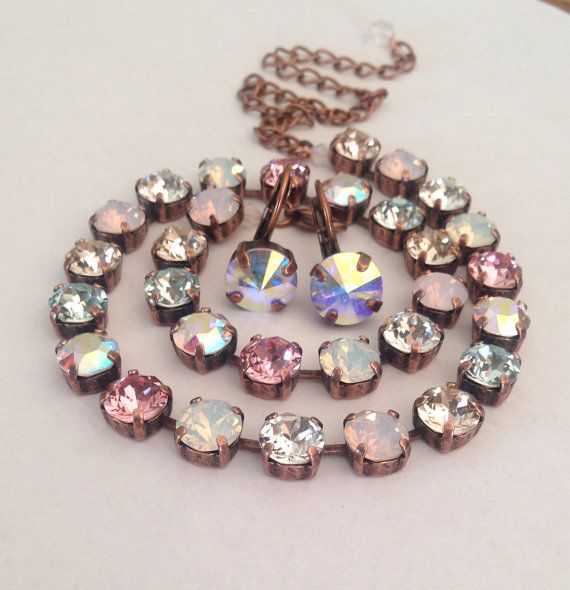 Swarovski Crystal Necklace Pink Opal Blue Clear Ab by Miswings