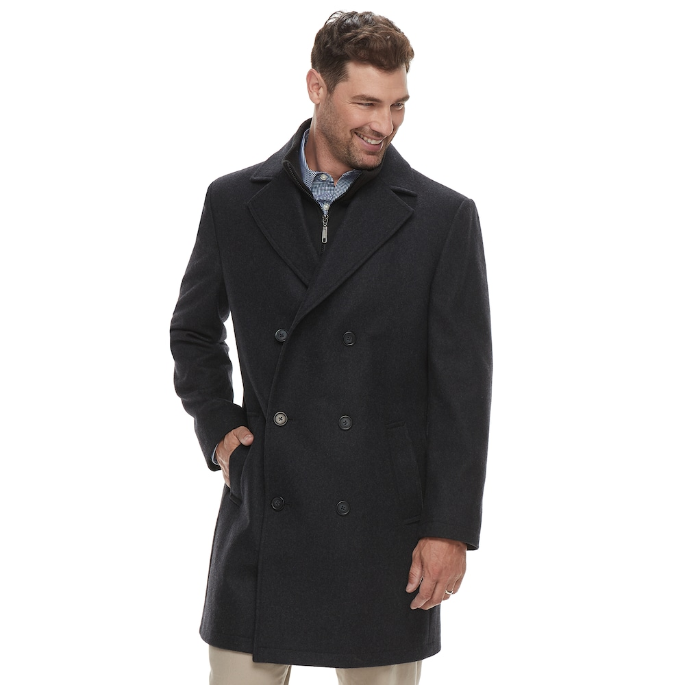 CHAPS mens Classic Double-breasted Coat Wool Blend Coat