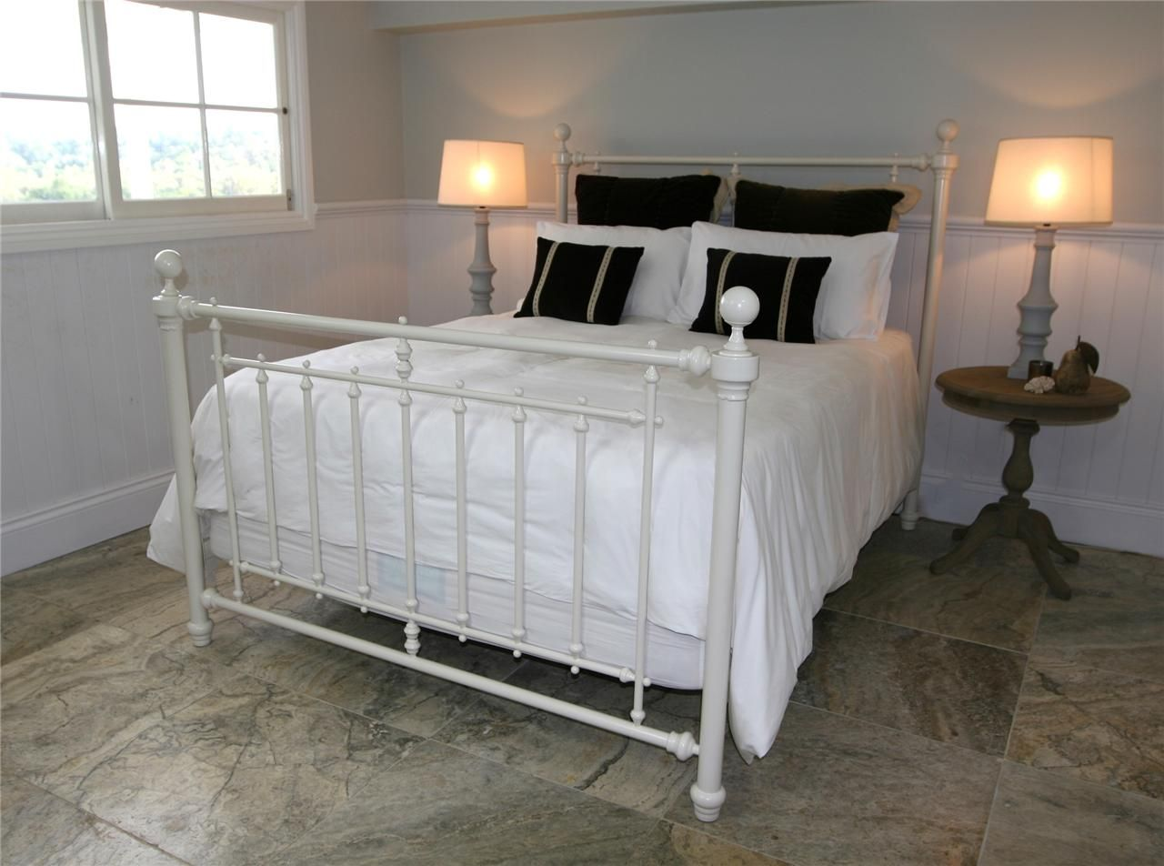Metal headboard bed frame - King Size Bed Frame Ivory Metal Bed Frame 19th Century Style