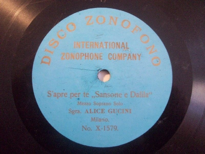 Big 50% Discount Auction !!!     ALICE GUCINI  S apre per te SANSONE E DALILA  rarest lightblue Zonofono X-1579 #78rpm #Schellackplatte