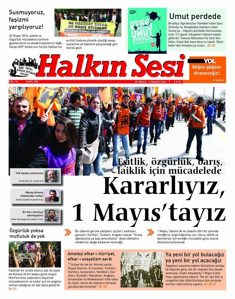"""Halkın Sesi 256. sayı """"Kararlıyız, 1 Mayıs'tayız"""" manşetiyle çıktı!"""