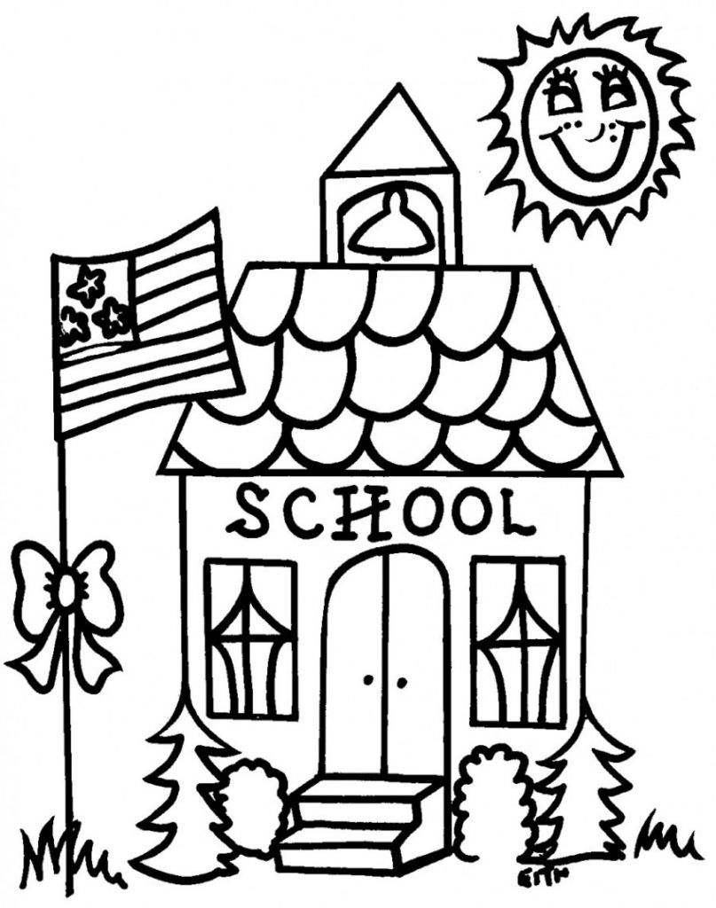 School House Coloring Page : school, house, coloring, School, Coloring, Pages, Kindergarten, Pages,