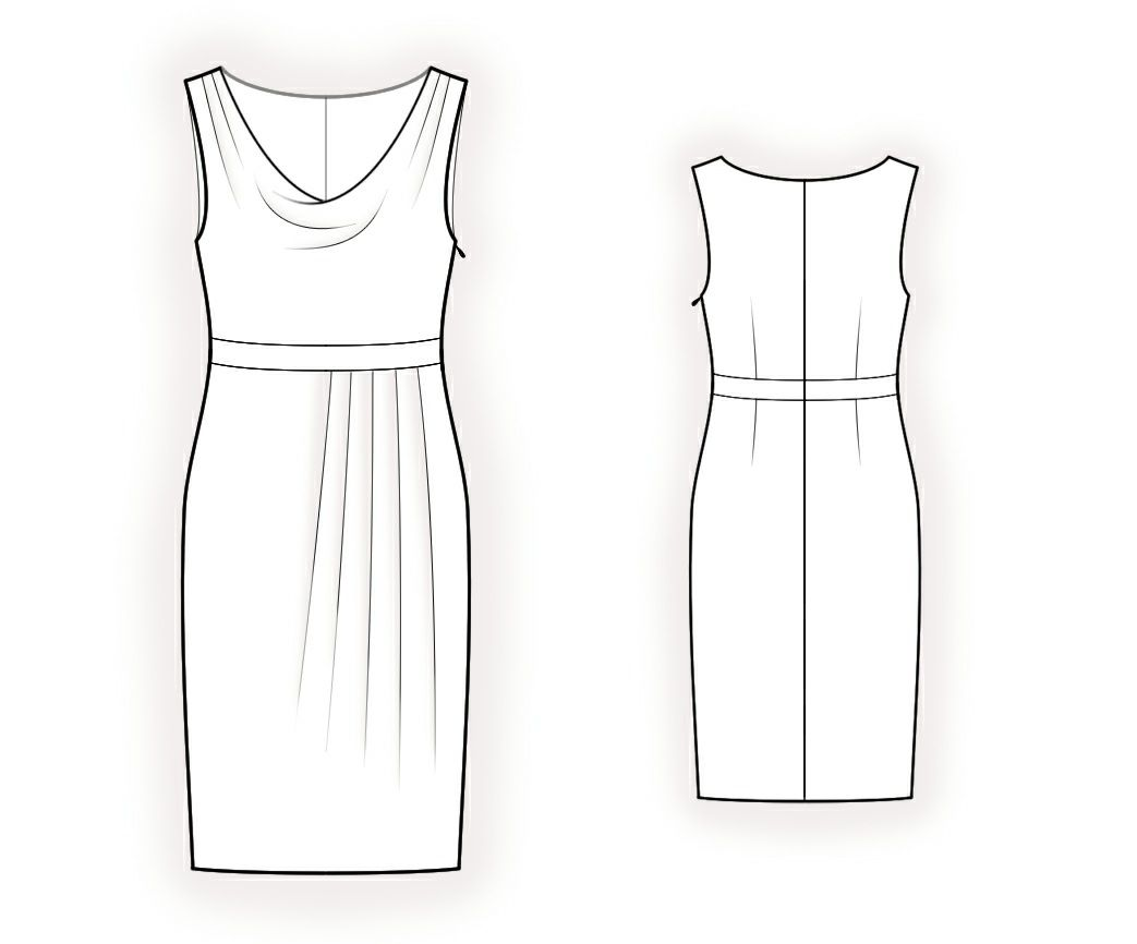Dress With Cowl Neck - Sewing Pattern #4373 Made-to-measure sewing ...
