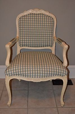 Ethan Allen Country French Duvall Chair Upholstered Carved Accent 13 7118 1 A