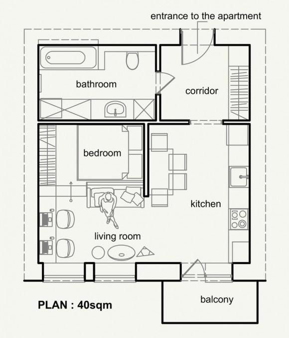 Cómo decorar 40m2 y no echar en falta espacio? ¿Será posible - maison de 100m2 plan