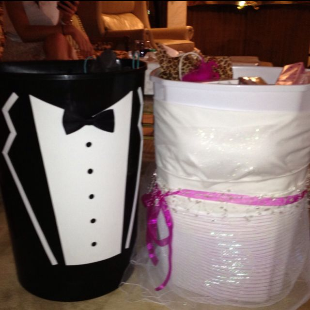 wishing well trash cans for the bride and groom handmade by my moh bridal shower