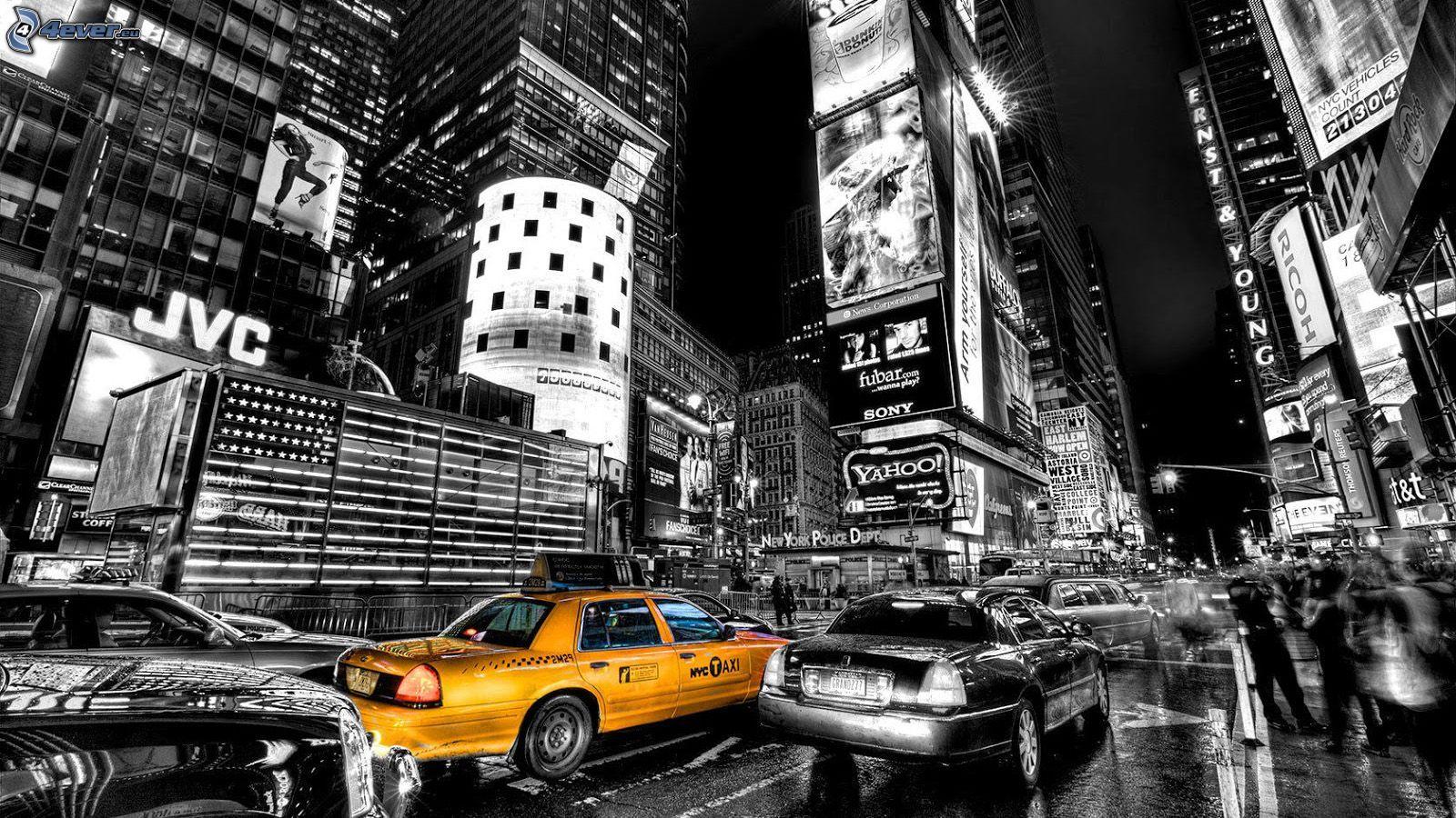 New York Taxi Wallpaper Preto E Branco Viagens Cores