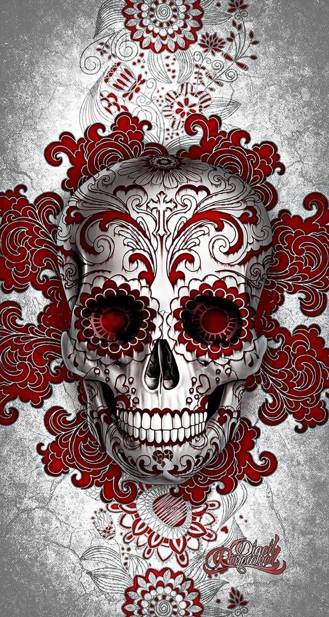 Digoil renowned floral sugar skull red