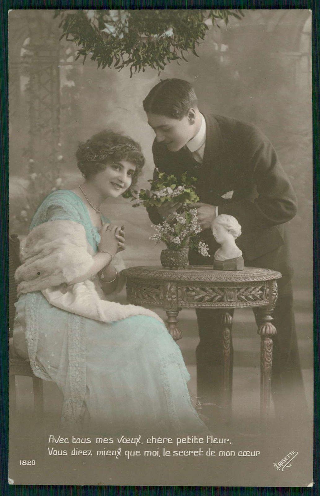 Edwardian Lady Love Romance Couple flirt original vintage