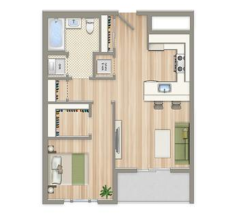 one-bedroom floor plan | 2m street in northeast washington dc | wc