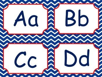 Red White and Navy Blue Nautical Word Wall words