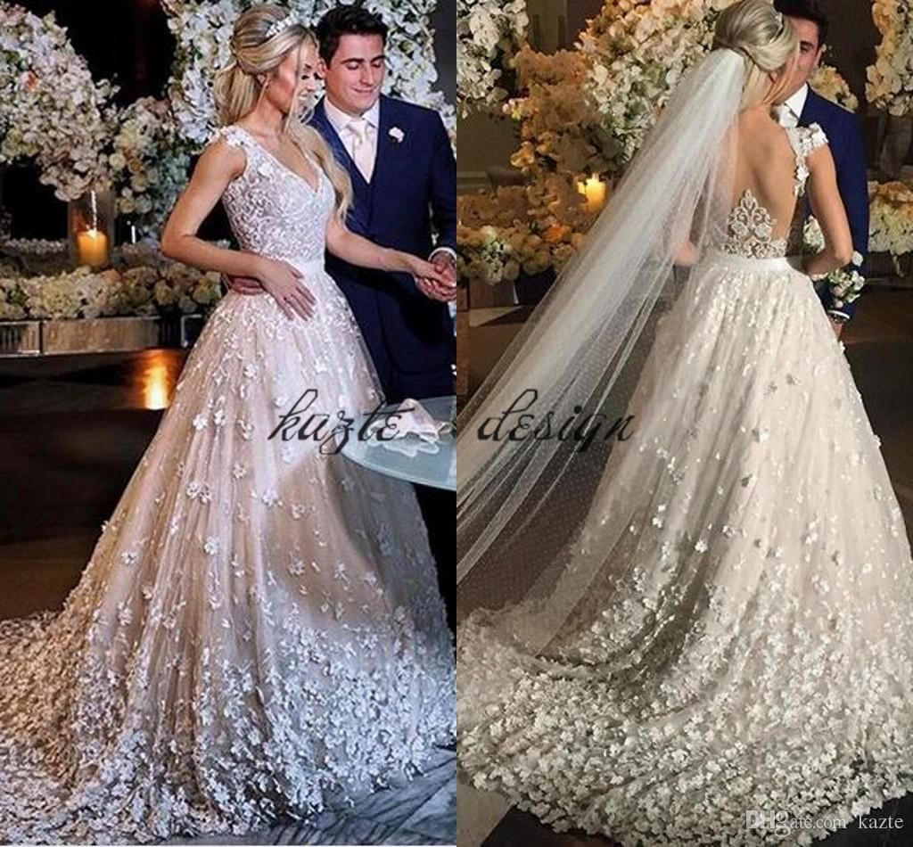 Luxury 3D Lace Floral Church Wedding Dresses 2018 Fully Butterfly Sweep  Train Cap Sleeve Sweehteart Bridal 4b307ad3ee1a