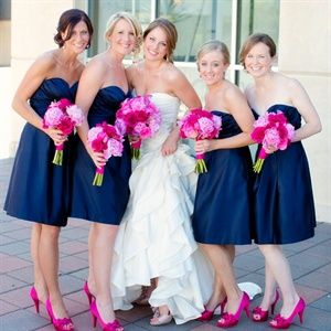 pink and navy blue bridesmaid dresses