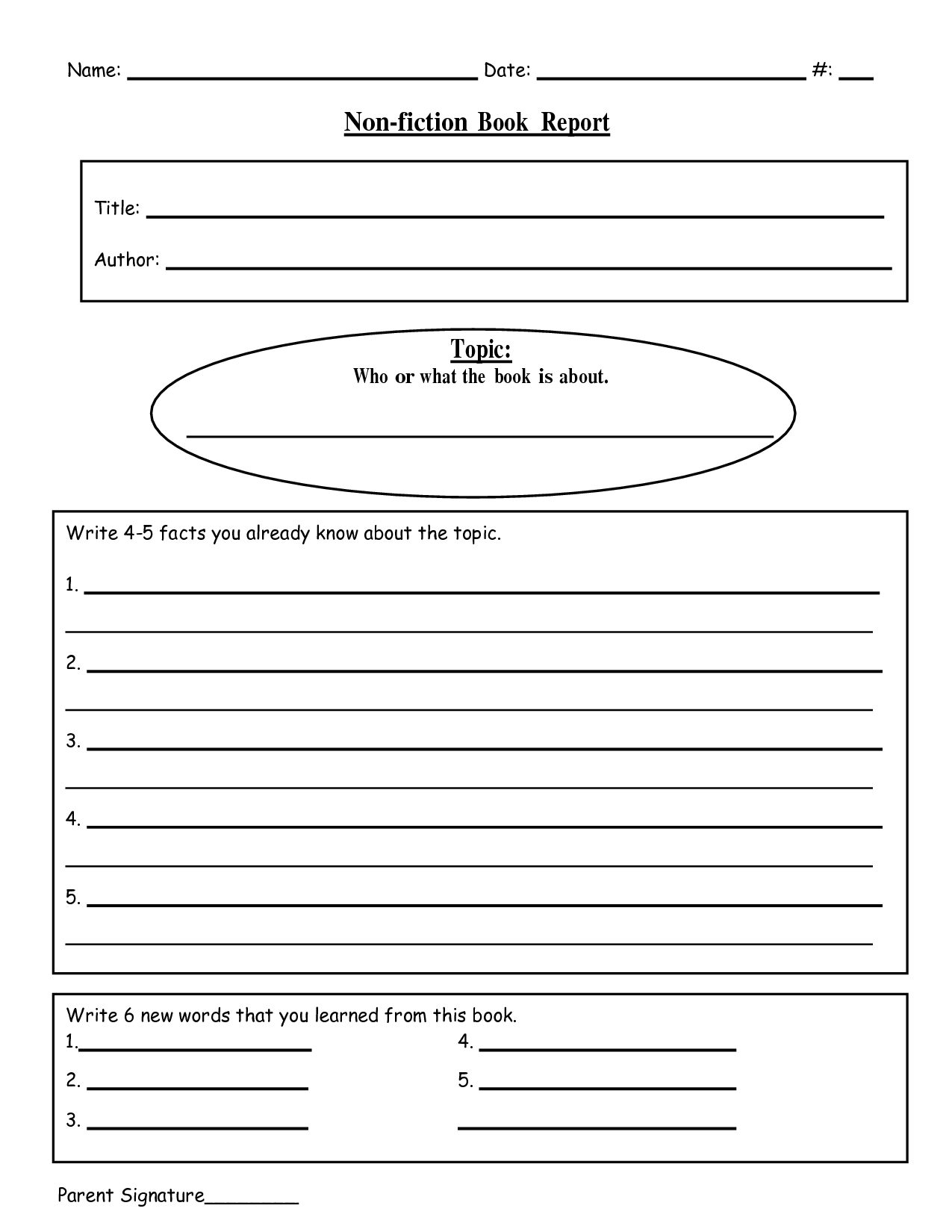 Free Printable Book Report Templates  NonFiction Book ReportDoc