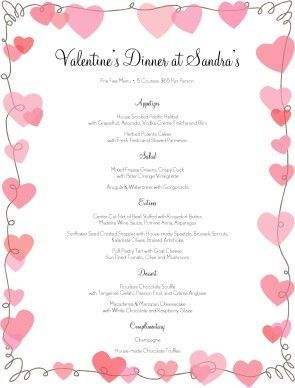 Customize V Day Hearts Menu #hearts #love #fancy #design #template #diy #valentines #flyer: