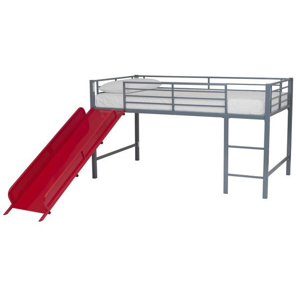 Silver with Blue Slide DHP Junior Twin Metal Loft Bed with Slide Multifunctional Design