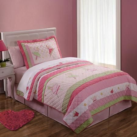 Fairy Ballerinas Twin Bedding Quilt Set Pink Walmart Com Quilt Sets Girl Beds Girls Bedding Sets