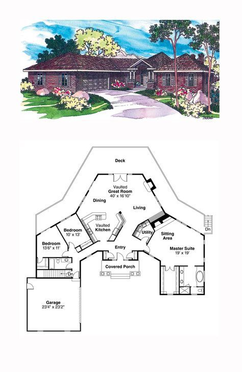 e Story Style House Plan with 3 Bed 2 Bath 2 Car Garage