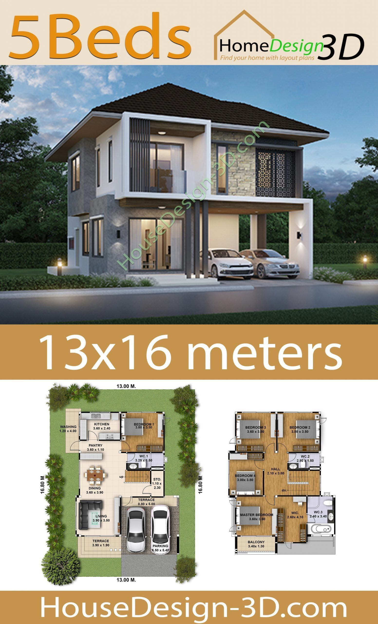 House Design 3d 13x16 With 5 Bedrooms Tiny House Design 3d In 2020 House Design Tiny House Design House
