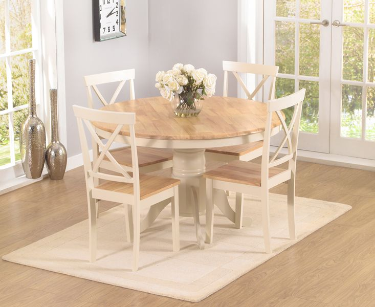 Epsom cream pedestal dining table set with 4 chairs for Cream kitchen set