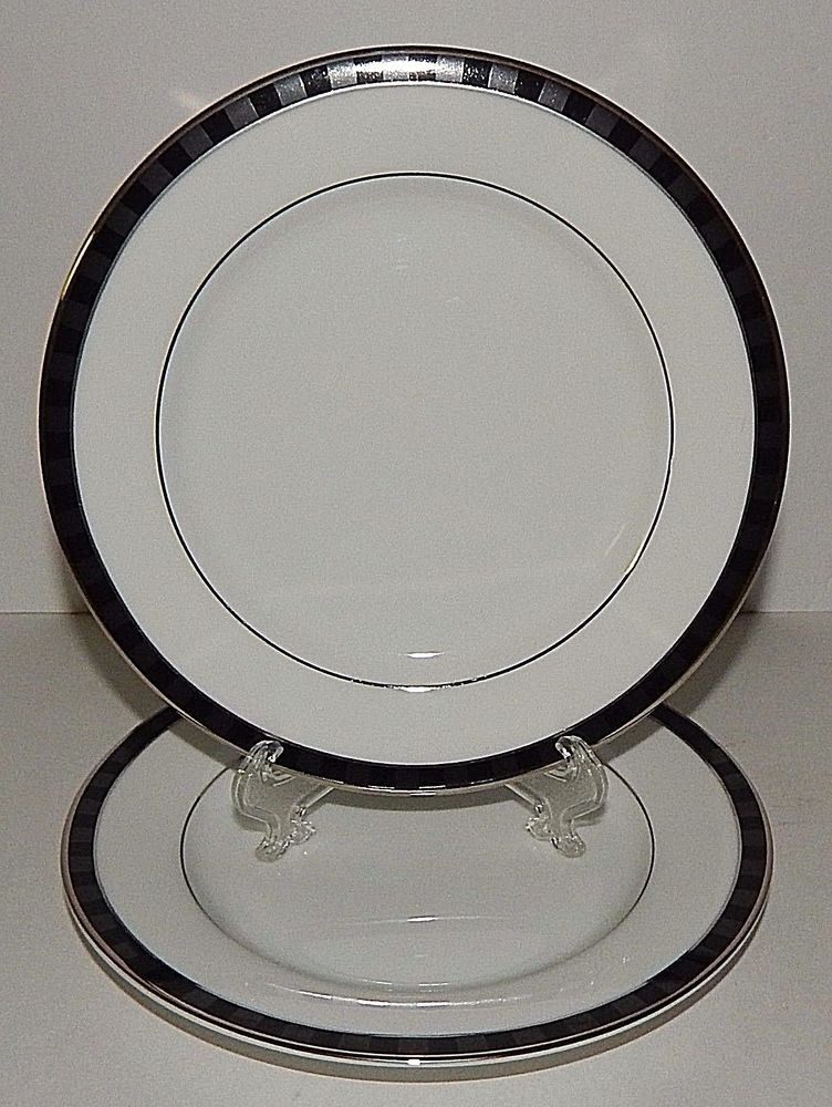 2 Nikko Fine China Black Tie Patra Bread Plates Silver Trim Thailand 2125362 & 2 Nikko Fine China Black Tie Patra Bread Plates Silver Trim Thailand ...