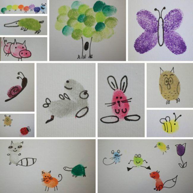 Fingerabdruck Bilder Tiere Ideen Schmetterling Fuchs Frosch Biene