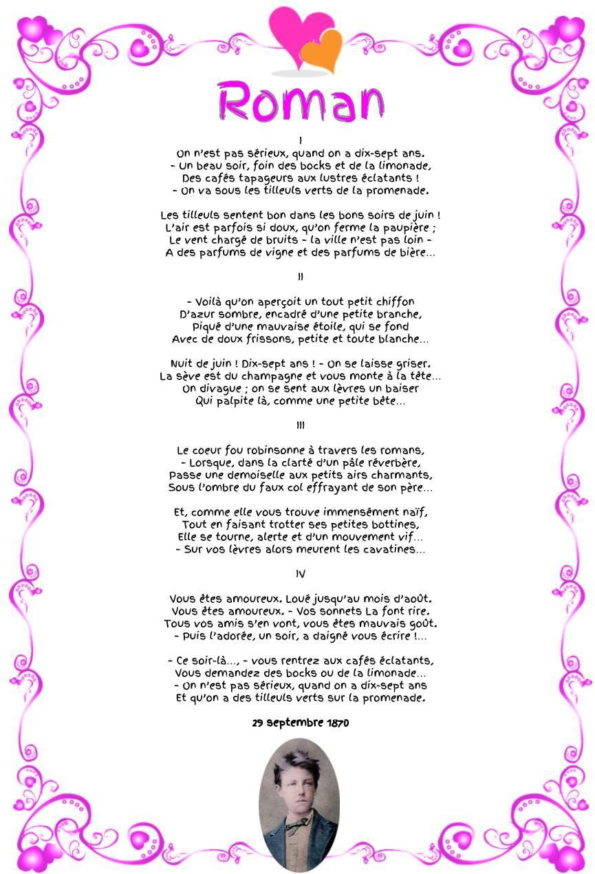 Poème Roman Arthur Rimbaud Roman Rimbaud Poeme Et Poeme