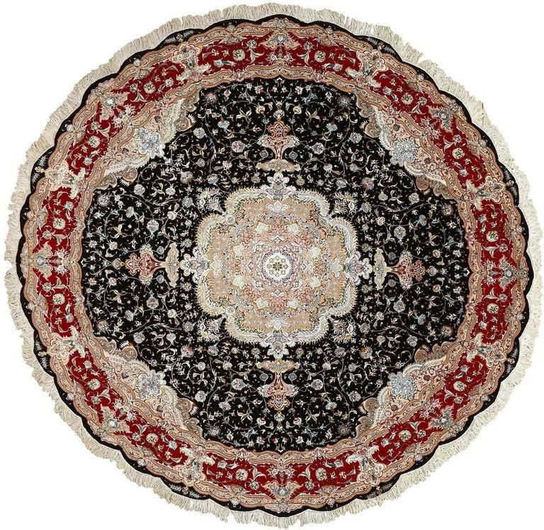 Round Black Vintage Tabriz Persian Rug With Images Antique