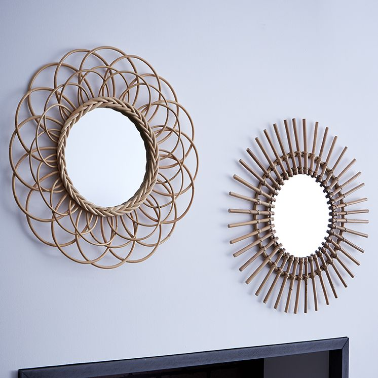 Miroir rotin id e d co for Miroir soleil deco