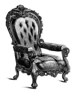 Vintage Chair Clip Art, Black And White Clipart, Antique Chair Engraving, Old  Fashioned