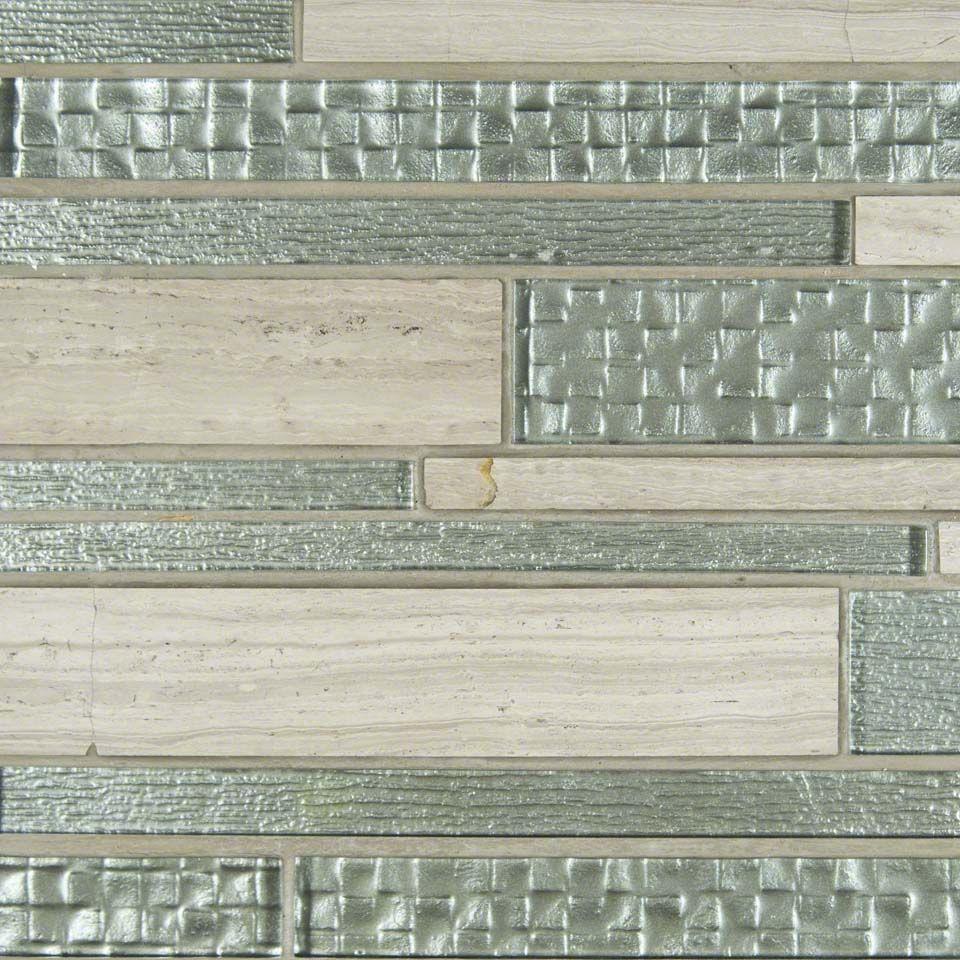 Create A Chic Backsplash With Aria Interlocking 12x18 This Large Format Mosaic Starts With A Classic Founda Stone Tile Backsplash Mosiac Tile Stone Backsplash