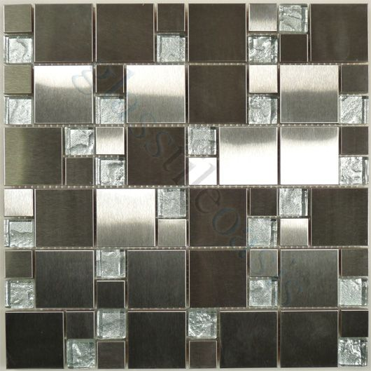 Industrial Kitchen Backsplash: Moso Mosaics Stainless Steel Series, Unique Shapes
