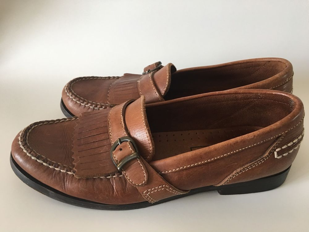 Men'Sduck Head Classic with Buckle Tan Leather Loafers Size 10 M | eBay