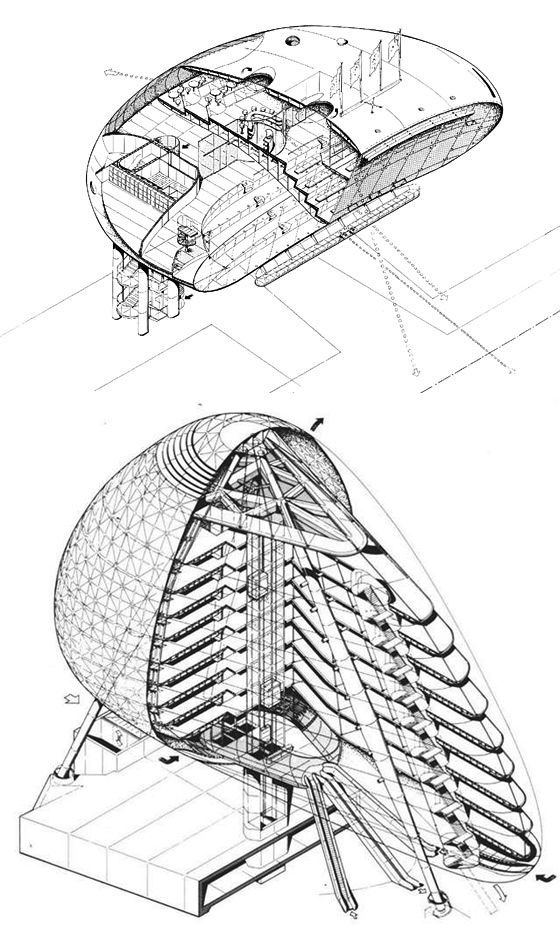 Drawings of Jan Kaplický's Lords Media Centre, 1999 and Green Building, 1990