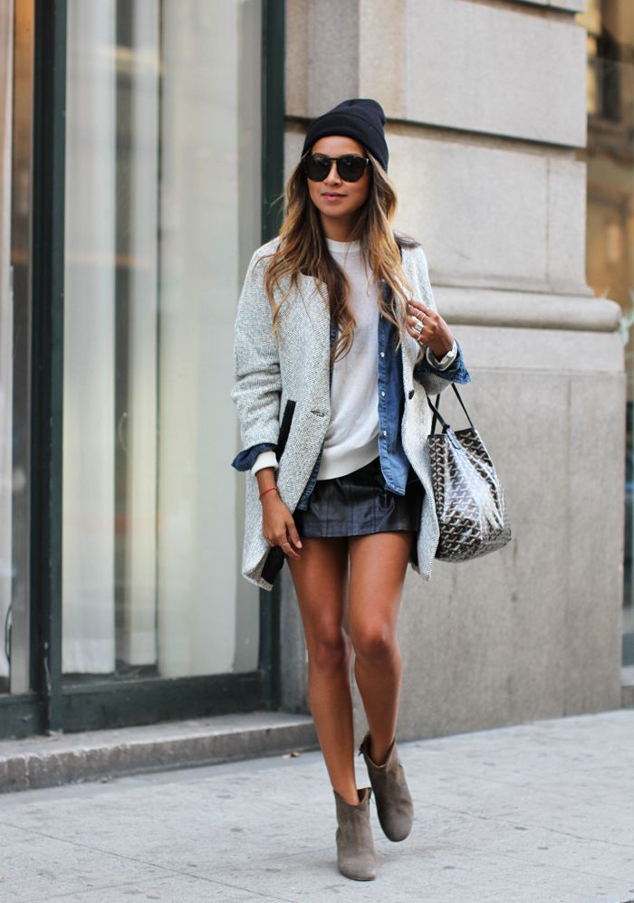 leather skirt and layers